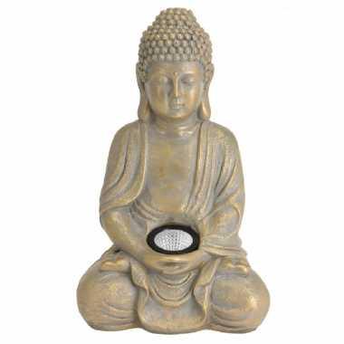 1x boeddha tuinbeeld goud met solar verlichting op zonne-energie 33 c