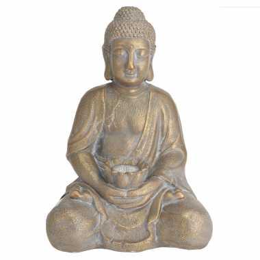 1x boeddha tuinbeeld goud met solar verlichting op zonne-energie 44 c