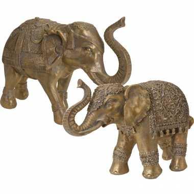2x olifanten dieren tuinbeelden antiek goud 27 en 36 cm