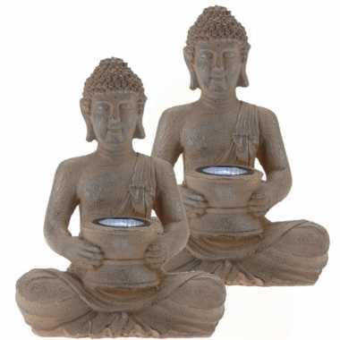 2x stuks solar lamp boeddha beelden bruin / grijs 28 cm