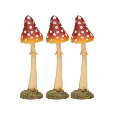3x herst decoratie paddenstoel vliegenzwam 12 cm