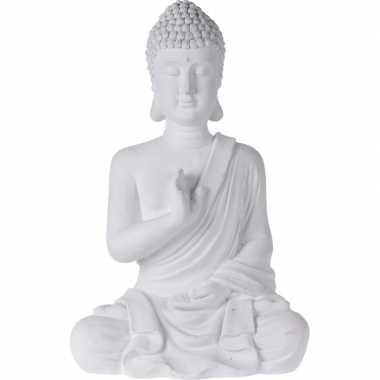 Boeddha beelden/tuinbeelden zittend wit 54 cm