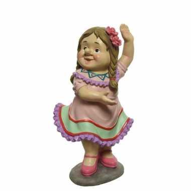Dansende tuinkabouter vrouw tuinbeeld 27 cm van polystone