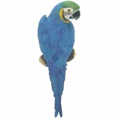 Dierenbeeld blauwe ara papegaai vogel 31 cm tuinbeeld hangdeco
