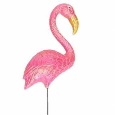 Dierenbeeld oranje flamingo vogel 47 cm tuinbeeld steker