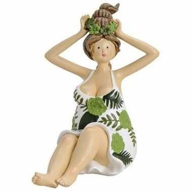 Dikke dame beeldje groen/wit jurkje 16 cm