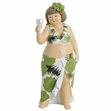 Dikke dame beeldje groen/wit jurkje met wijn 21 cm