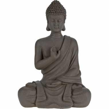 Tuindecoratie grijze boeddha beelden/tuinbeelden 30 cm