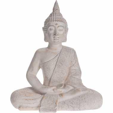 Zittend boeddha tuinbeeld antiek creme 62 cm